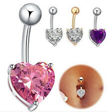 Rhinestone Crystal Heart Barbells Navel Belly Bar Button Ring Body Piercing New