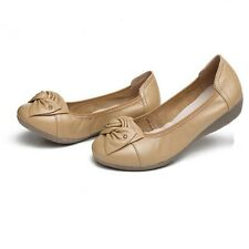Leather Ballet Shoes Women Casual Shoes Flat Slip On Leather Car Styling