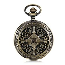 Wind Up Mechanical Skeleton Mens Pocket Watch Bronze Tone Chinese Knot Case New