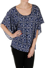DIANE VON FURSTENBERG New Woman blue Floral Printed top Silk Blend NWT