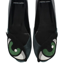 PIERRE HARDY New woman Black green Leather Flat ballet shoes Made in Italy