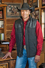 STS Ranchwear Mens Black Lucas Down Style Vest w/ leather accents