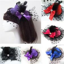 Mini Bowknot Pillbox Party Hat Lace Feather Hair Clip