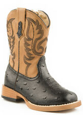 Roper Baby Boys Infant Square Toe Black Faux Ostrich Leather Cowboy Boots
