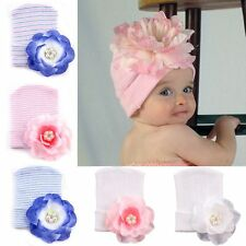 Girl Newborn Toddler Peony Rhinestone Crochet Knit Baby Flower Hat Beanie Cap