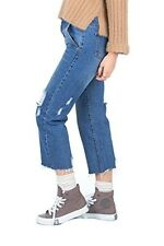 Simply Love 'Mor' Blue Demin Jeans Pants Ripped Women's Pockets