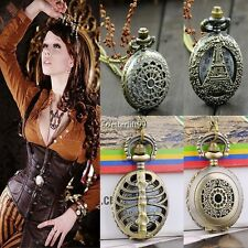 Antique Vintage Bronze Steampunk Chain Quartz Pendant Pocket Watch Necklace BF9