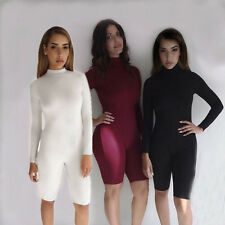 Womens Sexy Long Sleeve Bodycon Short Jumpsuit High Neck Short Rompers Clubwear