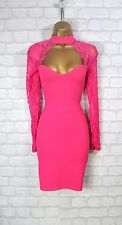 ~AMYA~ Pink Lace Bodycon Evening Mini Pencil Wiggle Party Dress 8 10 12 14