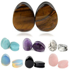 NS New Pair Natural Stone Ear Plugs Ear Gauges Double Flared Body Jewelry Opal