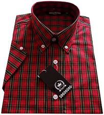 Relco Men's Red Tartan Checked Short Sleeved Button Down Collar Shirt Skins Mod