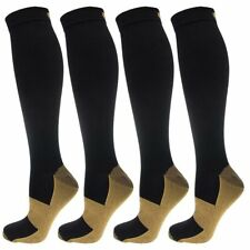 (4 Pairs) Copper Compression Socks Miracle Support Calf Men's Women's 20-30mmHg