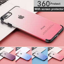 For iPhone 6 6S 7 Plus360 Full Body Slim Clear Hard Case+Screen Protector Cover