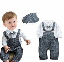 Baby Boy Wedding Formal Overalls Tuxedo Suits Outfit Clothes+HAT Set Size 00 0 1