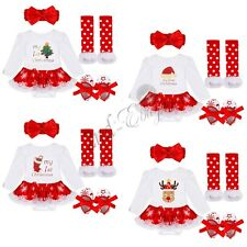 Sale Hot 4PCS My First Christmas Santa Baby Girl Romper Fancy Tutu Dress Outfit