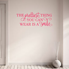 The Prettiest Thing You Can Wear is a Smile Quote Wall Art Sticker Teen Girls