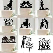 mIXED Shape Acrylic Mr &Mrs Bride & Groom Love Birds Wedding Cake Topper Party