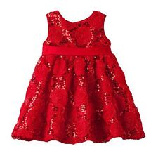 Rare Editions Baby Girl Red Rose Soutache Dress  NEW