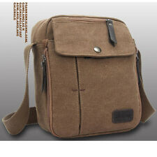 Men's Canvas Leather School Satchel Vintage Military Shoulder Bag Messenger Bag