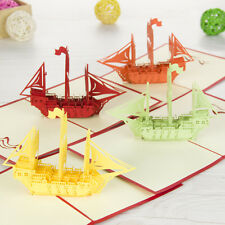 Sailing Boat 3D Paper Laser Cut Business Greeting Cards Blessing Gift