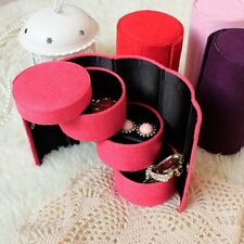 3 Tier Travel Jewelry Storage Box Portable Organizer Case with Covered Button