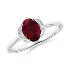 Solitaire Oval Natural Garnet Diamond Accents Ring 14k White Gold Size 3-13