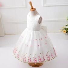 Fashion Korean girls Embroidery Floral Lace dress Kids Birthday Party