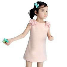 Summer Kids Girls Floral Sleeveless Princess Tutu Dress Solid Baby Dress Clothes