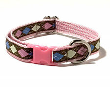 Kitten Cat or Extra Small Dog Collar Preppy Pink Diamonds Girly Cute Tiny Dog