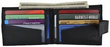 Mens Soft Leather Zippered Pocket Bifold Wallet W/Snap Enclosure & Outside ID