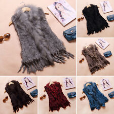 100% Real Rabbit Fur Vest Waistcoat Coat Fashion Women's Gilet Beauty Women