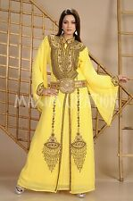 MOROCCAN FANCY KAFTAN GEORGETTE HAND EMBROIDERY JILBAB ARABIAN  DRESS 3648