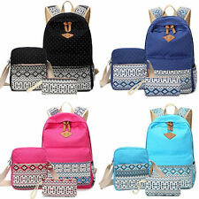 3PCS Women Girl Backpack School Bookbag Shoulder Bag Rucksack Canvas Travel Bag
