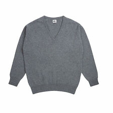 Community Clothing Men's Grey Wool V-Neck Jumper
