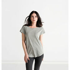 New Mantis Ladies Loose Fit Wide Neckline T-Shirt New Womens Twin Needle Sleeves