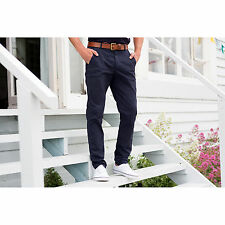 Front Row Stretch Chino Trousers Tag Free Mens Pant Pockets  Zip Fly Button Over