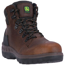 John Deere Mens Whiskey Leather Lace-Up 6in Steel Toe Work Boots