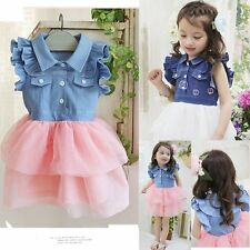 Baby Kids Girl Denim One Piece Tutu Ruffled Lace Dress Outfit Clothes Age 2- 6