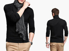 Mens T-shirt Basic Tee Long Sleeve Turtle neck Fitted  High Elasticity M-XXL