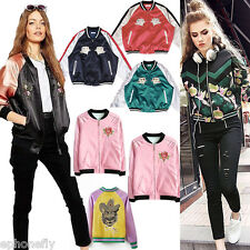 Reversible Satin Embroidered Bomber Jacket Women Baseball Coat Embroidery 8color
