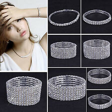 NS Crystal Rhinestone Stretch Bracelet Bangle Wristband Elastic Wedding Bridal