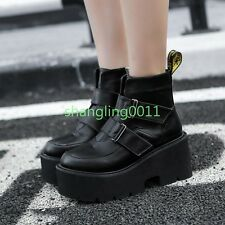 Womens Gothic Ride Korean Chunky Heels Platform Cosplay Buckle Ankle Boots Shoes