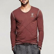 Classic Mens V-neck Long sleeve Contract Color Simple T-shirts Coffee M to XXXL