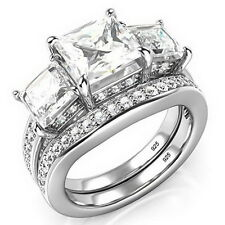 3 Carat Sterling Silver Princess Cut CZ 3-Stone Engagement Wedding Ring Sz 4 -12