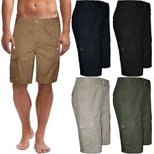 New Mens Chino Cargo Shorts Knee Length Combat 100% Cotton Summer Pant Casual
