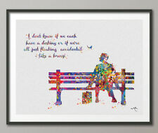 Forrest Gump Quote Watercolor Print Art Wall Poster Home Decor Wall Art 2