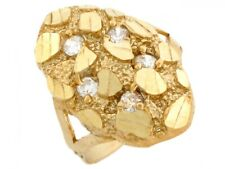 10k / 14k Solid Yellow Gold Nugget CZ Ring Jewelry