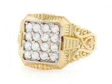 10k / 14k Yellow Gold Cluster CZ Square Mens Ring Jewelry