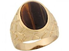 10k or 14k Yellow Gold Synthetic Tigers Eye Large Nugget Style Mens Ring