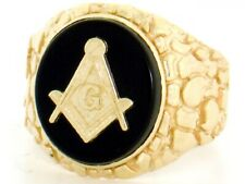 10k or 14k Solid Gold Oval Onyx Masonic Nugget Mens Ring
